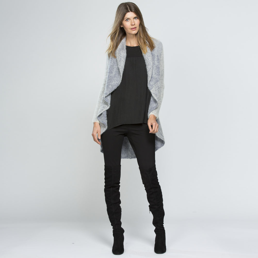 Wear a Ponte Pant with a longline knit and knee high boots