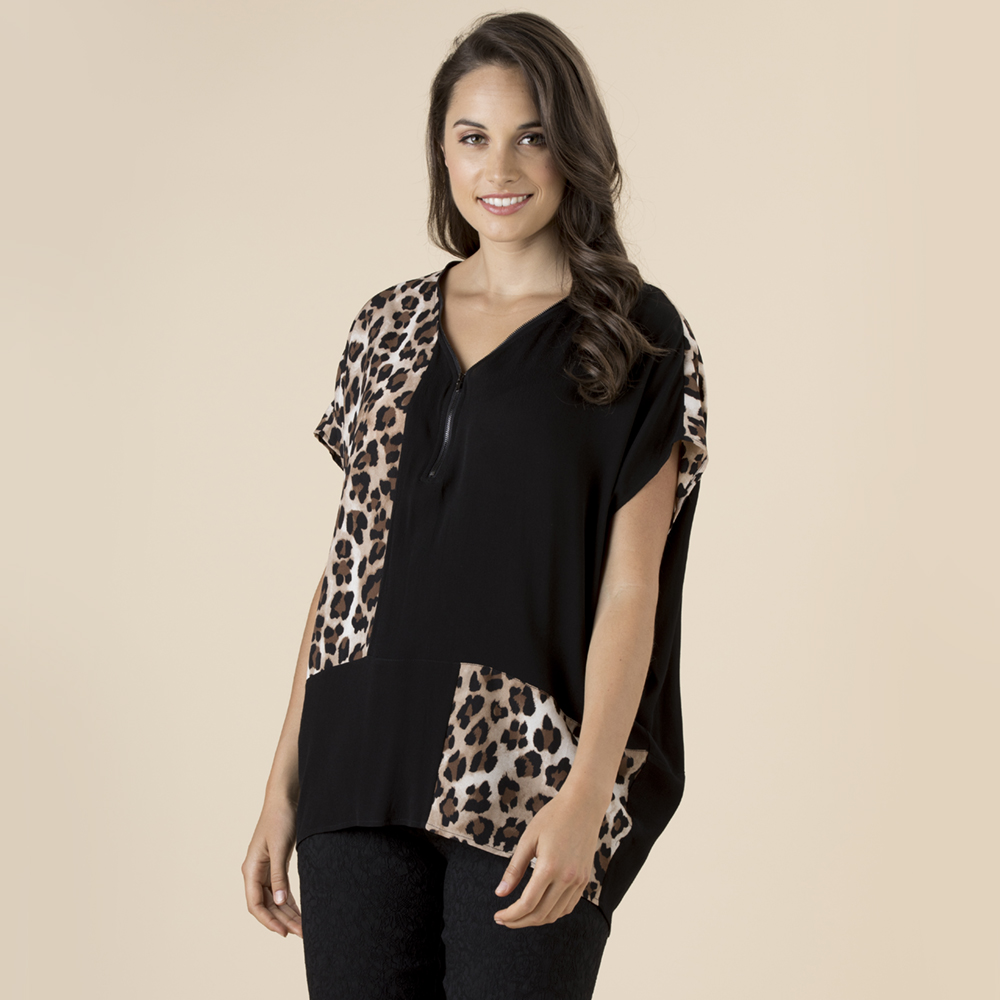 Animal Spliced Print Top by Clarity