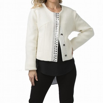 Lighten your winter wardrobe with this multi-panelled cream jacket,                                                                                              featuring a centre studded placket, faux side pocket detailing and a rounded                                                                                     neckline. Soft, cosy and comfortable this jacket is fully lined                                                                                                  with a straight fit to the body.