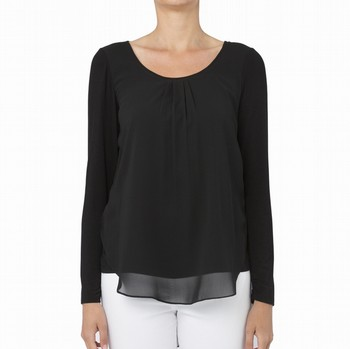 CHIFFON LAYER JERSEY TOP