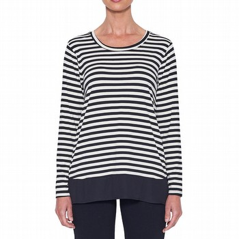 This soft jersey stripe tee is a beautiful light weight relaxed fit top. With a                                                                                  crew neckline, long sleeve and loose fit, a georgette trim has been added,                                                                                       creating a floating and stylish top.