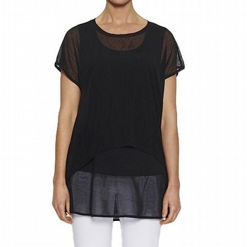 Mesh Overlay Top - Short Sleeve