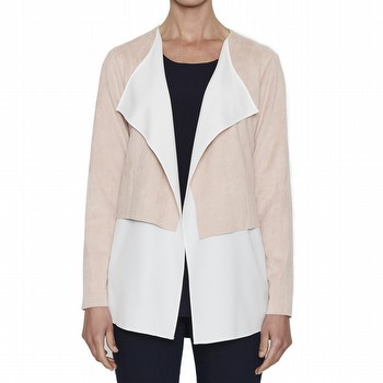 You will love this elegant faux suede jacket! WIth a soft crepe collar underlay,                                                                                 the open jacket drapes beautifully to the waist, with the underlay flowing to                                                                                    the hips. Pair this jacket with pants and heels for the night out, or with                                                                                       jeans and flats for lunch with friends.                                                                                                                          This faux suede is machine washable!