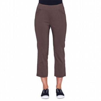 The Classic Bengalene Crop Pant by Threadz is a best seller! With power mesh                                                                                     front inset for super tummy control this summer weight bengalene pull on pant                                                                                    is cropped to three quarter length, features a comfortable wide elastic                                                                                          waist band and handy front pockets. Available in Black, Charcoal, Navy, Silver                                                                                   and White.