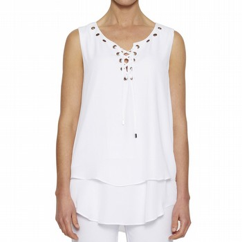 The Sleeveless Eyelet Top by Threadz is one of our best selling styles!                                                                                          In a fluid poly this sleeveless top features eyelet detailing on a                                                                                               rounded neckline with a self coloured tie. With a relaxed slighlty A line fit                                                                                    to the bodice and a double front layer this casual stlye is perfect back with                                                                                    any of your summer weight slim line jeans or pants. Available in navy,                                                                                           black and white throughout the season.