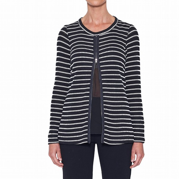 STRIPE KNIT WITH ZIP