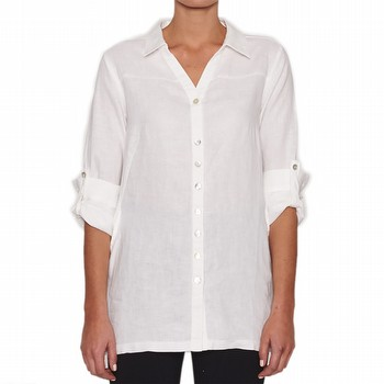 BUTTON THROUGH LINEN TUNIC SHIRT