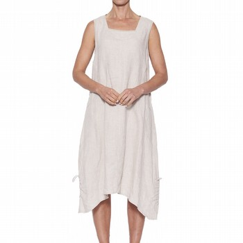 LINEN BUTTON HEM DRESS