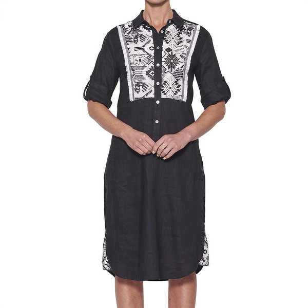 Embroidered Front Linen Dress