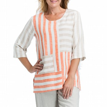 Spliced Stripe Linen Tunic