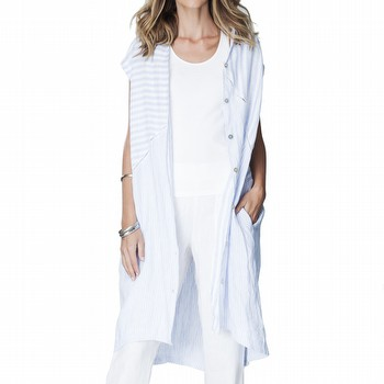 Spliced Stripe Linen Shirtdress