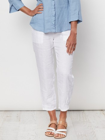 The Jersey Waist Linen Pant by Gordon Smith is one of this seasons best sellers!                                                                                 Loved for its relaxed casual styling and fit this pull on pant features a                                                                                        stretch jersey waistband with a firm 4cm elastic band on a quality linen lounge                                                                                  style pant. With handy side pockets and a slightly nipped hem finish this pant                                                                                   is super comfortable and perfect as a wardrobe staple to take you right through                                                                                  the warm summer months ahead.                                                                                                                                    Model wears Size 10 and stands 178cm tall.