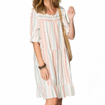 STRIPE LINEN TIERED DRESS