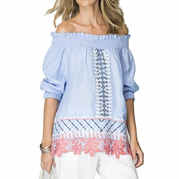 Embroidered Shirred Top