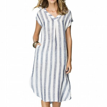 STRIPE LINEN V NECK DRESS