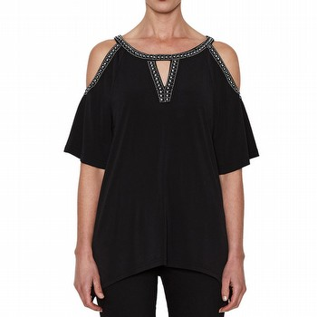 DIAMONTE TRIM COLD SHOULDER TOP