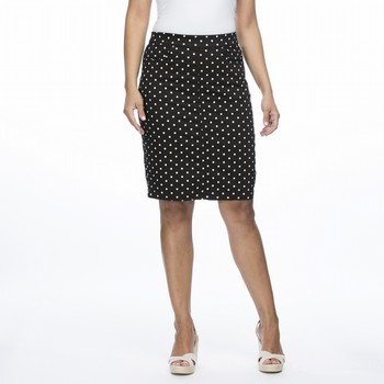 The Polka Dot Skirt by Gordon Smith is a super comfortable cotton blend                                                                                          skirt with plenty of stretch for comfort. With classic denim styling of top                                                                                      stitch detailing and hardware on pockets and seams this striaght fit knee length                                                                                 skirt is pull on with a wide elastic waist band and a centre back vent.                                                                                          This skirt also features handy front and back pockets.                                                                                                           Models wear Size S and stand 178cm and 180cm respectively.