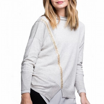 Cashmere Blend Sequin Trim Knit