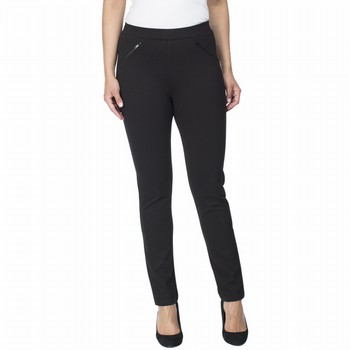 The Twill Ponte Stretch Pant by Hammock & Vine is a super comfortable                                                                                            pull on straight leg pant. With a wide elastic waistband and faux leather                                                                                        detailing on decorative front zips you will find this easy to wear pant on                                                                                       high rotation in your wardrobe this season. The two way stretch allows for a                                                                                     comfortable fit and the nylon component a hard wearing garment suitable to your                                                                                  everyday.