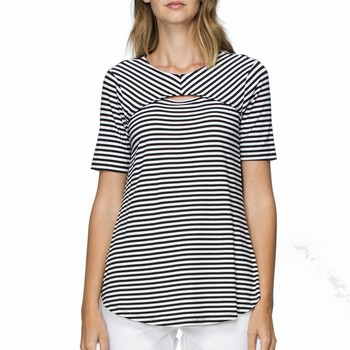 Front Split Stripe Tee