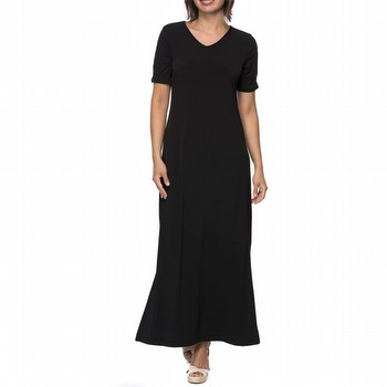 The Split Sleeve Maxi Dress by Threadz will take you anywhere in comfort                                                                                         and style. In a fluid poly jersey this A line shaped dress features a short                                                                                      sleeve with a split seam exposing the arms, a V neckline and split side seams                                                                                    at 45cm, starting just below the knee on most. Pair back with sky high heels                                                                                     for evening or flats for the beach.
