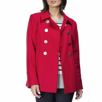 The Double Breasted Coat by Gordon Smith is a stunning wool blend melton                                                                                         jacket available in red, and black.  With large statement buttons in silver and                                                                                  a double breasted front this quality style also features a large cuffed sleeve                                                                                   with buttons and is fully lined in a printed red & navy. With handy side pockets                                                                                 and a large collar this jacket will keep you warm and stylish all winter long.                                                                                   Models wear Size S and stand 178cm and 175cm respectively.