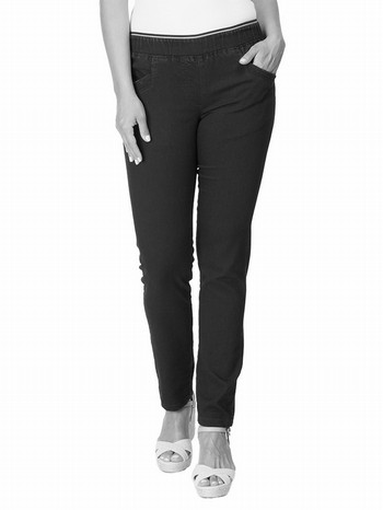 The New York Denim Pant by Gordon Smith is a super comfortable pull                                                                                              on stretch denim pant. The New York denim has a super soft handle and plenty of                                                                                  stretch to make these pants one of our most comfortable styles! With a wide                                                                                      elastic waistband and jean style finishes this straight leg pant will become                                                                                     your firm favourite this season.                                                                                                                                 Model wears size 10 and stands 178cm tall.
