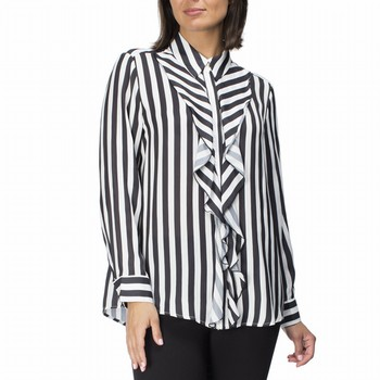 Luxe Stripe Ruffle Front Shirt | Tuggl