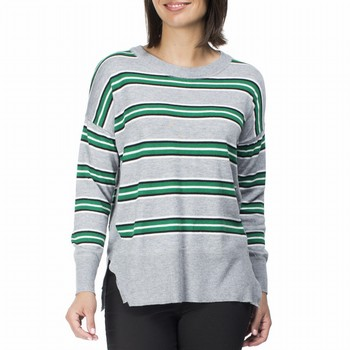 The Stripe Knit by Threadz is a fine gauge stripe knit in a poly and cashmere                                                                                    blend. Super soft and cosy this relaxed fit top features a green, grey marle and                                                                                 white horizontal stripe with a dropped shoulder, a crew neckline and a ribbed                                                                                    hemline and sleeve. Pair back with any denim for the latest in casual weekend                                                                                    style. Model wears Sixze S and stands 178cm tall.