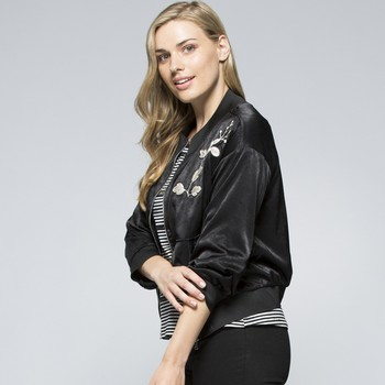 Applique Satin Bomber Jacket