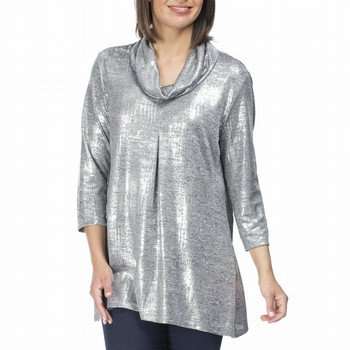 The Metallic Tunic by Clarity will elevate your evening style to maximum                                                                                         effect! In a light weight stretch this longline top sparkles and shines like                                                                                     a diamond and features a lovely drapey cowl neckline, a flattering A line                                                                                        shape with a pleated front and a fitted long sleeve. Model wears Size S                                                                                          and stands 178cm tall.
