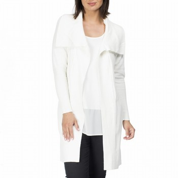 The Waterfall Cardigan by Clarity is a classic wardrobe basic perfect as a                                                                                       trans-seasonal layering option. In a soft cotton and wool blend this ivory                                                                                       knit features a large draped collar and a handy self tie belt.                                                                                                   Model wears Size S and stands 178cm tall.