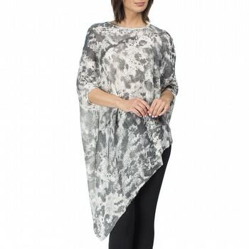 The Animal Print Wool Poncho by Clarity is the latest in on trend style!                                                                                         In a super fine gauge knit this pop over merino and mohair blend poncho                                                                                          features animal print in soft charcoal hues and an asymmetric hemline.                                                                                           Models wear Size S and both stand 178cm tall.