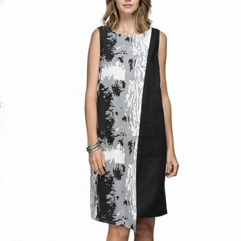 Print Layer Linen Dress