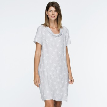 Print Linen Cowl Neck Dress