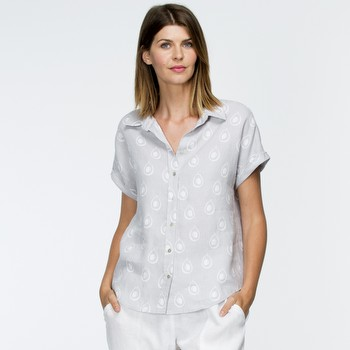 The Printed Linen Shirt by Gordon Smith is a soft grey printed shirt featuring                                                                                   a short cuffed dolman sleeve, a soft top stitched collar and a button through                                                                                    front placket with pretty mother of pearl buttons down the front. With a roomy                                                                                   yet stylish relaxed fit to the bodice this comfortable linen shirt can be worn                                                                                   tucked in or out. Pair back with the Gordon Smith Linen pant in white 19393,                                                                                     or the matching skirt 31340 for a smart casual look everytime.                                                                                                   Models wear Size S and both stand 178cm and 180cm tall.