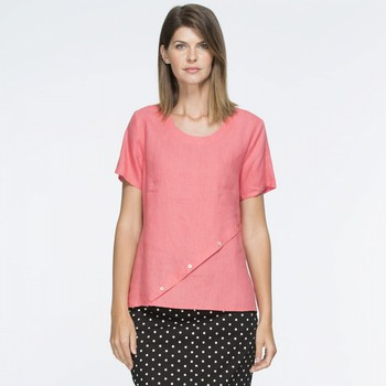 Short Sleeve Angle Hem Top