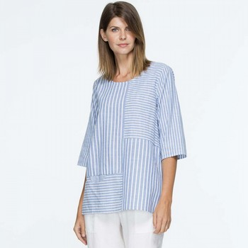 Spliced Stripe Chambray Top