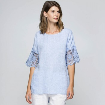 Lace Sleeve Linen Top