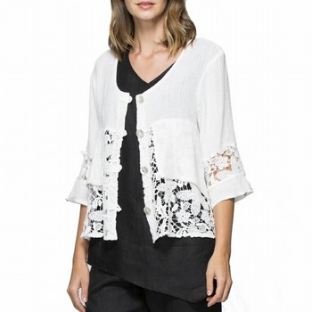 Lace Linen Jacket | Tuggl