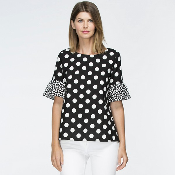 Contrast Sleeve Spot Top