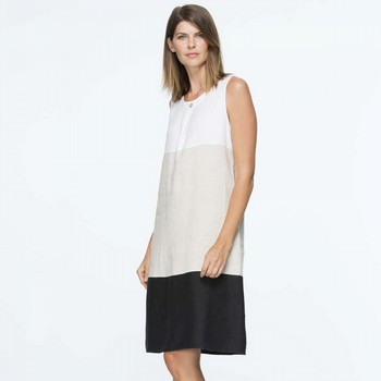 Spliced Round Neck Linen Dress