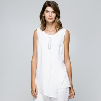 Sequin Trim Layered Linen Top