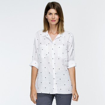 Spot Linen Long Sleeve Shirt