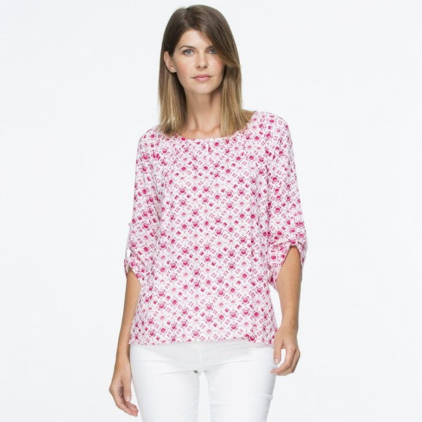 Raspberry Cotton Print Blouse