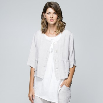The Crop Linen Jacket by Hammock & Vine is a classic summer jacket you'll                                                                                        wonder how you ever lived without! In a fine weave linen this beautiful style                                                                                    features an elbow length sleeve, and rounded neckline, patch pocket detailing                                                                                    and large mother of pearl buttons on the front and back. Perfect over a                                                                                          sleeveless dress as arm coverage, or just as an additional layer on cooler                                                                                       summer days, or back with a Tshirt and jeans, this is one style that will add                                                                                    options to change up your wardrobe for years to come.                                                                                                            Models wear Size S and stand 178cm and 180cm tall.