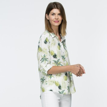 The Pineapple Print Shirt by Gordon Smith is a fine cotton blend                                                                                                 shirt featuring a colourful lime and green pineapple print all over.                                                                                             With a soft collar and a long cuffed sleeve this shirt has the added                                                                                             versatility of a tab up feature on the sleeve. Mother of pearl buttons                                                                                           highlight this pretty tran-seasonal style appearing down the front                                                                                               and on the tab up sleeves and cuffs.