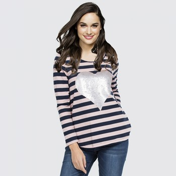 Sequinned Heart Stripe Cotton Tee