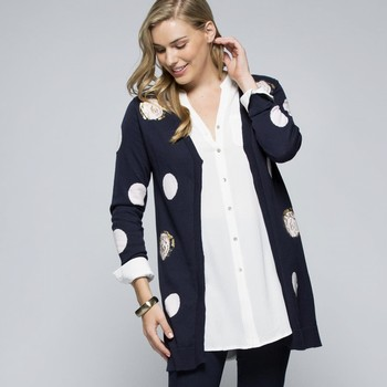 The Spot Knit Cardigan by Clarity is your new fave cardi! This navy long                                                                                         line cardi features and all over spot in soft pink with the occasional                                                                                           metallic gold highlights. Super fine and light weight it will not add bulk, and                                                                                  the longer hemline finish lengthens the silhouette. One centre front clasp.                                                                                      Models wear size S and both stand 178cm tall.