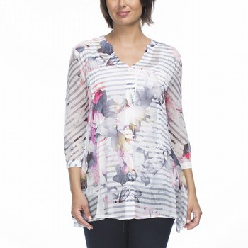 The Print Shirt by Clarity is the prettiest of styles! In a super fine                                                                                           light weight sheer poly this beautiful shirt boasts a pink and navy                                                                                              floral and stripe all over print. With a V neckline on a button through                                                                                          this shirt also features delicate pleat front detailing, a flattering A line                                                                                     shape to the bodice and a longer line finishing past the hips on most.                                                                                           Pair back with a white or flesh singlet and a neutral pant for a great look                                                                                      everytime. Models wear Size S and both stand 178cm tall.